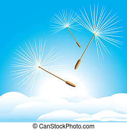 Fluff of dandelion on the cloudscape. Vector illustration