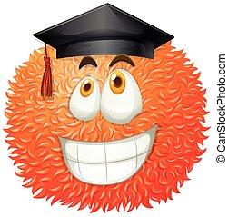 Fluffy ball with graduation cap