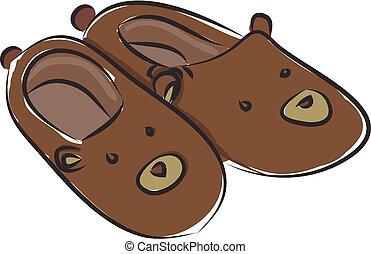Fluffy bear slippers illustration color vector on white background