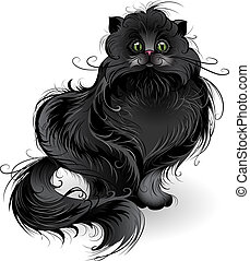 fluffy black cat - artistically painted , fluffy black cat...