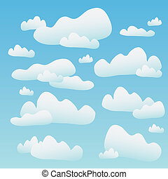 Fluffy Blue Clouds - A blue sky full of fluffy cartoon...