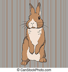 Fluffy brown standing rabbit - Vector illustration of fluffy...