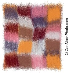 Fluffy checkered plaid with grunge weave colorful square elements in pastel colors