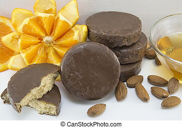 Fluffy chocolate cookies decorated with fresh orange