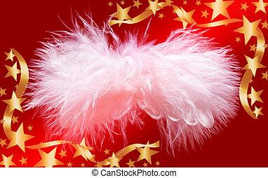 Fluffy christmas angel in golden stars frame