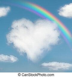 Fluffy cloud like a heart