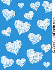 Fluffy cloud of the shape of heart