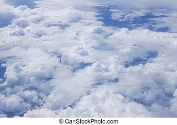Fluffy clouds from plane