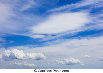 Fluffy clouds in blue sky at daytime