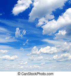 fluffy clouds in the blue sky...