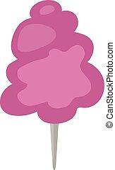Fluffy fair dessert cotton candy on wooden stick cartoon illustration.