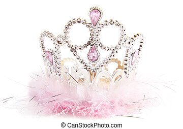 Fluffy fancy crown - Silver fluffy crown with pink jewels...