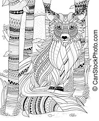fluffy fox coloring page - fluffy fox in the forest - adult...