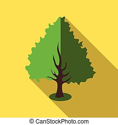 Fluffy green tree icon, flat style
