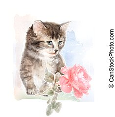 Fluffy kitten with rose. Imitation of watercolor painting.