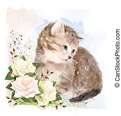 Fluffy kitten with roses.  Vintage