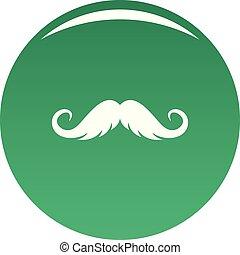 Fluffy mustache icon vector green