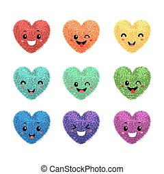 Fluffy pom-poms in the shape of a heart