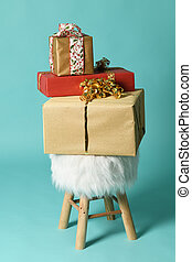 fluffy poof with christmas gifts