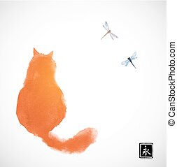 Fluffy red cat watching two dragonflies. Traditional oriental ink painting sumi-e, u-sin, go-hua on white background. Contains hieroglyph - eternity.
