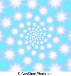 Fluffy snowflakes whirl on blue