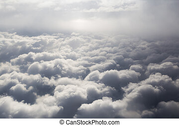 Fluffy storm clouds, aerial photography.