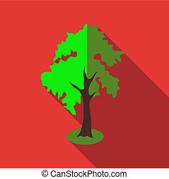 Fluffy tall tree icon, flat style
