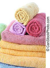 Fluffy towels - Fluffy and colorful bath towels, close up,...