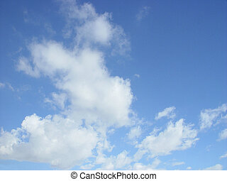 Fluffy White Clouds - Fluffy white cumulus clouds in a blue ...