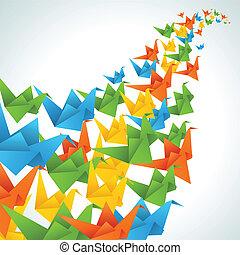 flug, abstrakt, hintergrund., papier, origami, vögel