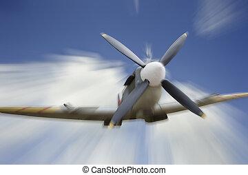 flug, britisch, flugzeug, 2, ära, spitfire, welt, ...