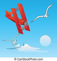 flug, -, risiko, vögel