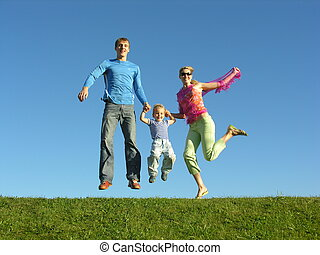 fluga, familj, lycklig