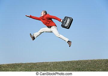 fluga, väska, springa, man
