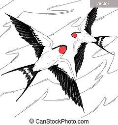 fluga, wings., mönster, sky, seamless, realistisk, vector., svälja, fågel