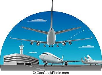 flughafen, flugzeuge