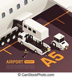 flughafen, laden, hintergrund, gepäck