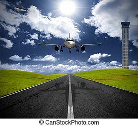 flughafen, motorflugzeug