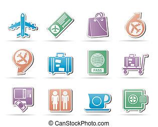 flughafen, reise, und, transport