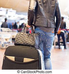flughafen, terminal., gehen, weibliche , reisender