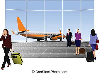 flughafen, vektor, szene, illustratio
