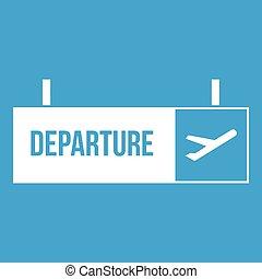 flughafen, weißes, zeichen, abfahrt, ikone