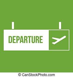 flughafen, zeichen, grün, abfahrt, ikone