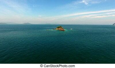 flugor, antenn, omkring, helikopter, indiska oceanen, vagga, synhåll, thailand, phuket