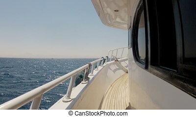 flugor, däck, yacht, kamera, hav, längs
