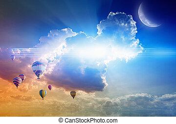 Flugor,  sky, luft, varm, solnedgång, Sväller