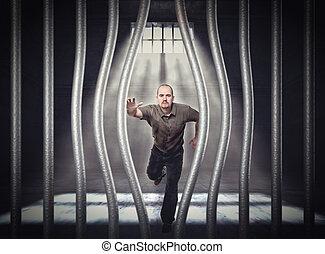 flugt, af, fængsel