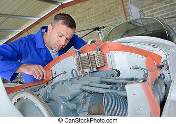 flugzeug, fokussiert, mechaniker