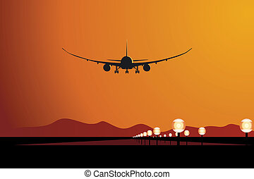 flugzeug, sonnenuntergang, landung