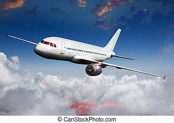 flugzeug, verkehrsflugzeug, motorflugzeug, in, der,...